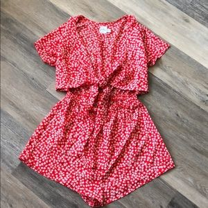 Princess Polly Virgo Tie Front Red Playsuit